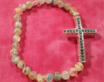 Rhinestone Cross and Millefiori Glass Stretch Bracelet
