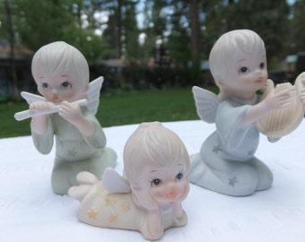 """Lefton Porcelain, Bisque Angel Figurines, Candle Ring - """"The Christopher Collection"""""""