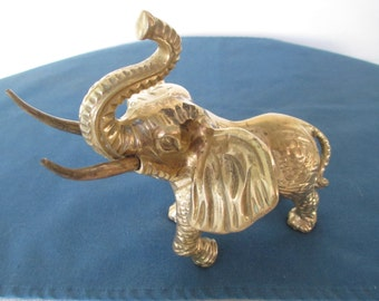 Brass Ornate Etching Elephant Figurine Vintage Home Decor Statues