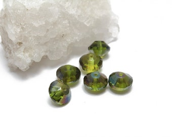 Olive Green Rivoli Crystals 8x10mm 6pcs