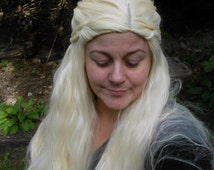 Long Blond Braided Wig, Dany Wig, Princess, Khaleesi wig, Dragon Queen, Renasscaince, Daenerys cosplay, Curly, Long, flowing, Costume