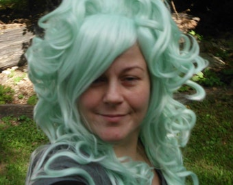 Mint Green Wig, Bump Wig, Long Curly, pastel, Light Colored wig, cosplay, Marie Antoinette Wig, Lolita, Curly, Drag Queen, scene hair, Poofy