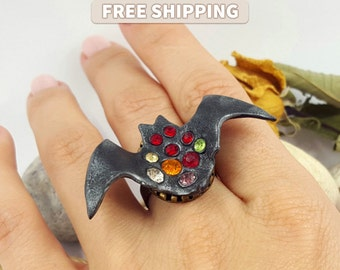 Glamorous Bat - Black Ring - Halloween Jewelry - Beautiful Bat Ring - Ring from Polymer Clay - Halloween Accessory - Gift - Free Ship