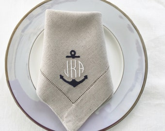 Embroidered Cloth Napkins Nautical Anchor Monogrammed.  Personalized Table Linens.  Linen Napkins.  Cloth Napkins. Wedding Gift. Fine Linens