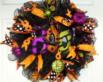 "Halloween  Wreath, Halloween ""Boo"" Wreath, Halloween Decor, Halloween Door Decor"