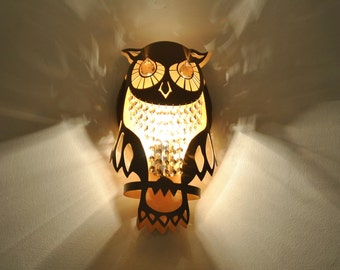 Lamp GOLD OWL wall light  made of steel and crystals