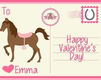 Horse Valentine's Day Cards Kids Personalized Printable Valentines