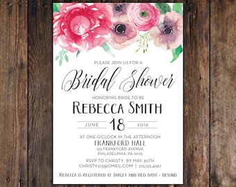 DIY Print at Home Pink and Purple Peony Anemone Bridal Shower 5x7 Invitation Rustic, Vintage, Style (Printable File) for Spring or Summer