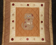 Cushion/Throw Pillow Cover   Cute cotton Patchwork with applique dog design  A Lovingly handmade and hand quilted cotton feature cushion