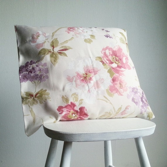 Pastel flowers pillow cover Pastel pink and violet throw