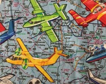 1 2 yard vintage airplane fabric premier prints vintage air for Airplane fabric by the yard