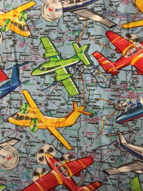 Vintage airplane cotton fabric by the yard for Airplane fabric by the yard