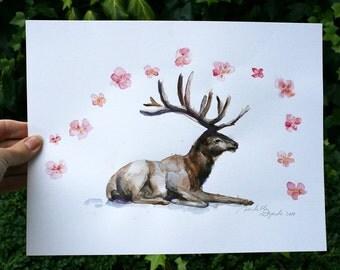 Original nursery painting - deer watercolor - Animal painting - Deer and flowers - Zen drawing - fairy tale illustration deer antler