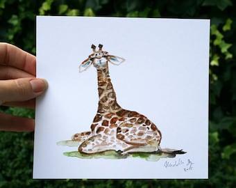 Baby giraf nursery painting - Original watercolor painting - Animal painting - Giraffe Art - illustration Nursery safari animal Africa wild