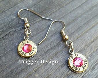 Simple 380 Caliber Dangle Bullet  Casing Earrings- Light Pink