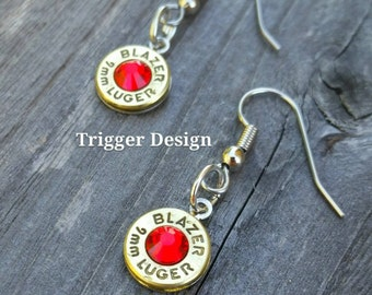 Simple 9mm Caliber Dangle Bullet  Casing Earrings- Red