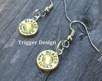 Simple 9mm Caliber Dangle Bullet  Casing Earrings- Yellow