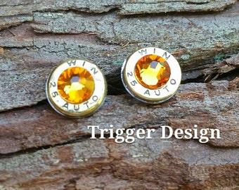 25 Caliber Bullet Casing Post Earrings- Light Orange