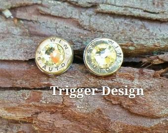25 Caliber Bullet Casing Post Earrings- Yellow
