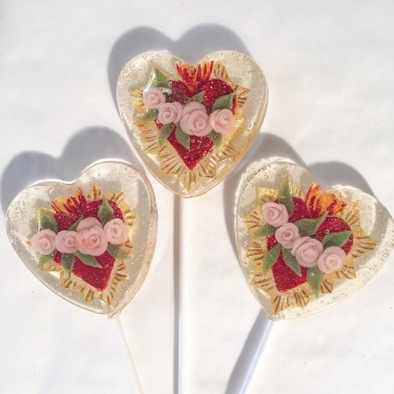 3 Blooming Roses Sacred Heart Lollipops