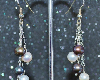 Black and White Pearl Shower Earrings