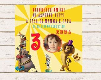 Madagascar 3 Personalized Birthday Invitation, DIY Party Printable, Invite Card