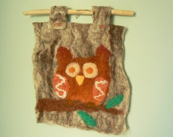 Felt owl picture, wet felting, needle felting, one of a kind