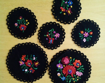 Black traditional Hungarian felt embroidered coaster set of 6