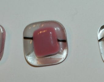 """Clear & Pink Abstract Glass Buttons. Set of 3. Sz 3/4"""" (20mm)"""