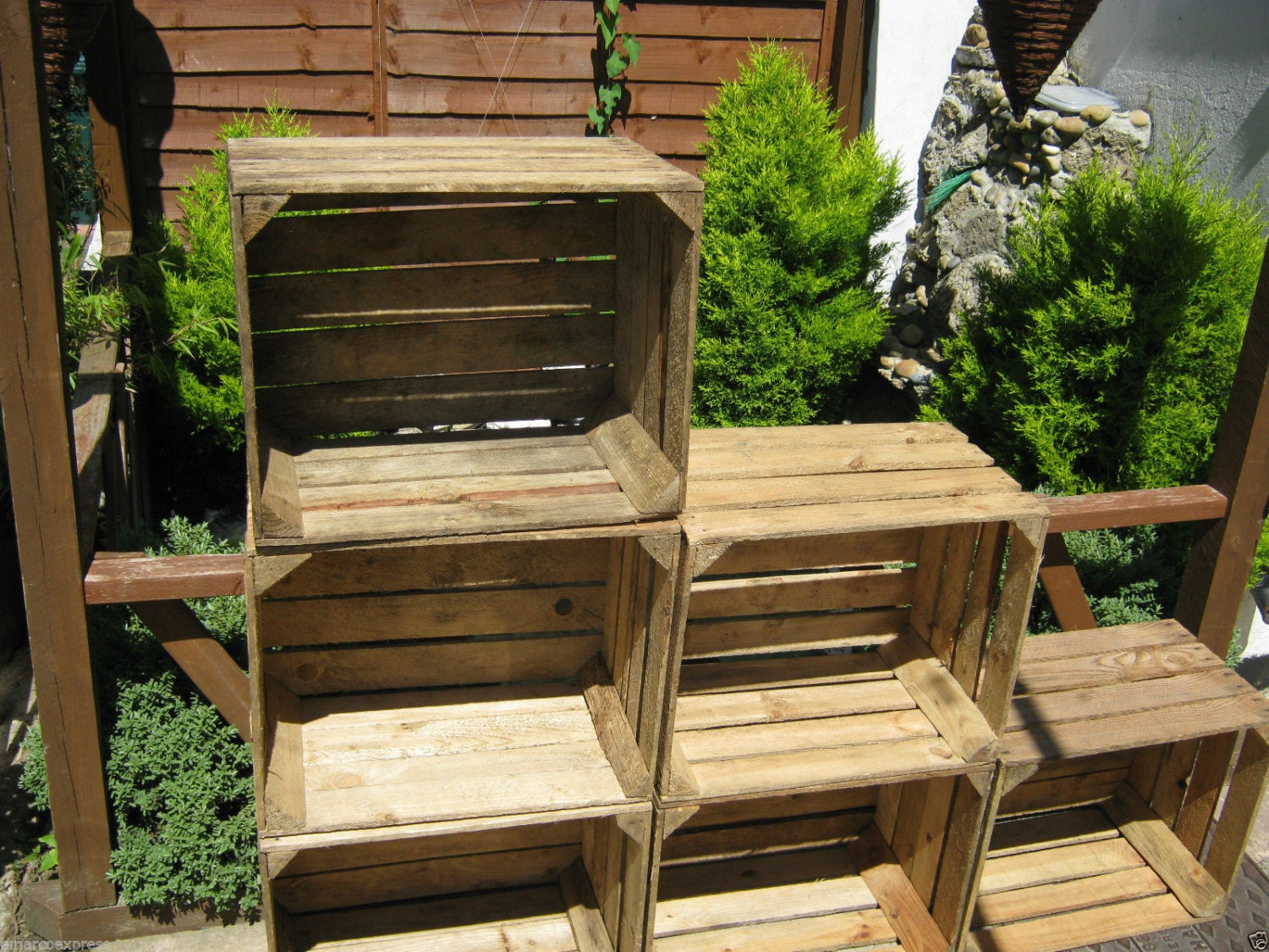 6 X Vintage Rustic European Wooden Apple Crates Ideal Storage