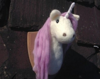 Handmade Needle Felted Unicorn head Trophy large faux taxidermy