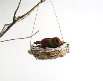 Felt Bird in a Nest - Woodland Decoration - Christmas Ornament