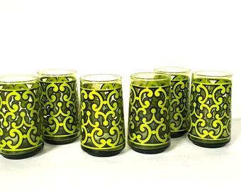 Vintage Retro Set of Six Drinking Glasses, Retro Green Tumblers
