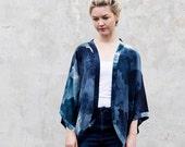 Printed Silk Kimono Top - Midnight Ink