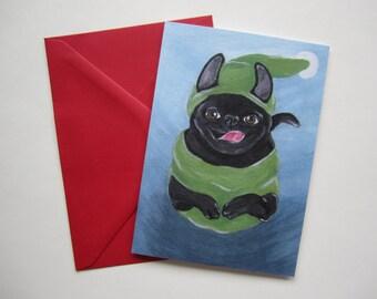 Jumping Pug Holiday Card, Holiday Pug Greeting Card, Black Pug Holiday Card by Amber Maki