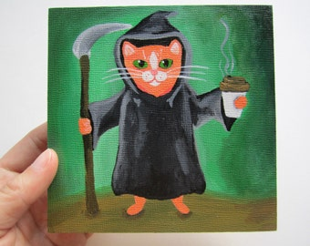 "Grim Reaper Tabby Cat Painting, 5x5"" Tabby Cat Painting, Halloween Art"