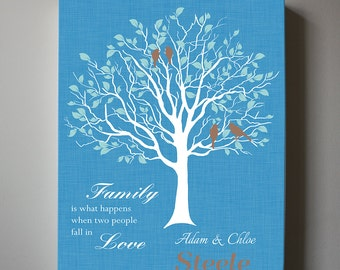 Personalized Wedding Gift, Anniversary Family Tree Print - Personalized Custom Love Birds Wedding Tree Canvas art
