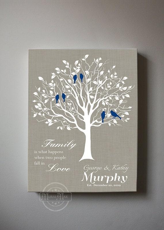 Wedding Gift Personalized Art : Wedding Gift, Anniversary Family Tree PrintPersonalized Custom ...