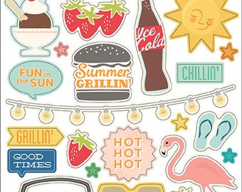 October Afternoon Summertime Collection, Double Take Stickers, Scrapbook Pages, Paper Crafting, Scrapbook Stickers
