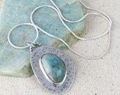 Turquoise Amazonite Pendant in Handmade Hammered Silver Setting on Silver Snake Chain