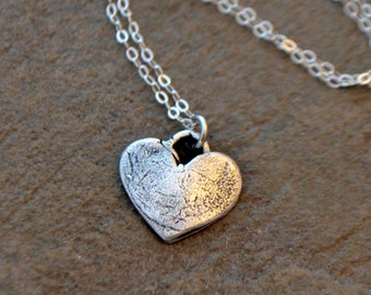Fine Silver Heart Pendant Necklace - PMC Clay Handcrafted Pendant