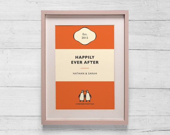 Penguin Classic Book Cover Posters ~ Personalised penguin book cover print wedding by bokaprint