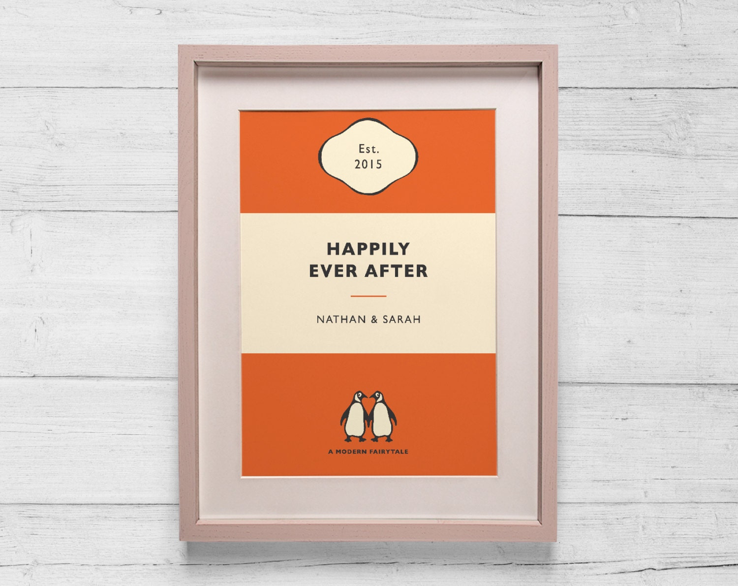 Penguin Book Cover Personalised : Personalised penguin book cover print wedding by bokaprint