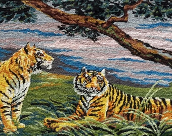 Tigers at rest - vintage french tapestry ideal for wall/cushion/pillow/bag/stool/chair cover