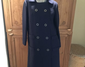 Mod 60s Jackie O Wool Sheath Dress Coat
