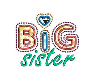 Big sister applique embroidery design. Baby girl applique. Big sister applique. Siblings machine embroidery and applique design.