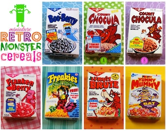 Miniature Retro Breakfast Monster Cereal Box (playscale 1:6 scale diorama play mini for fashion/teen dolls) vintage-style
