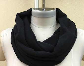 Made from Cashmere Infinity Scarf, 100% Cashmere Neckwarmer in  Black