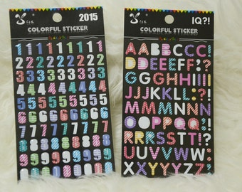 Letters and Numbers Enamel Stickers