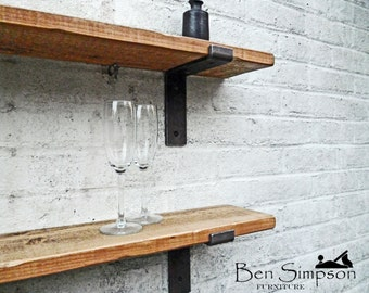 Rustic Shelves Shelf Industrial Metal Brackets Thin Solid Wood 22cm Depth TLB22